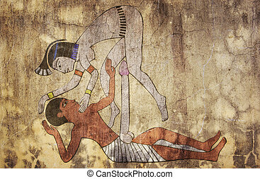 antiguo, como, Egipto,  fresco,  -, erótico, Miradas, dibujo