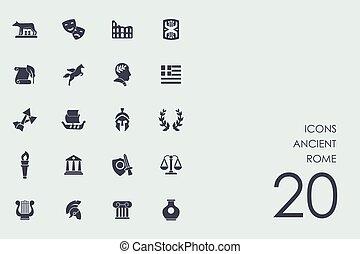 antiguo, conjunto, roma, iconos