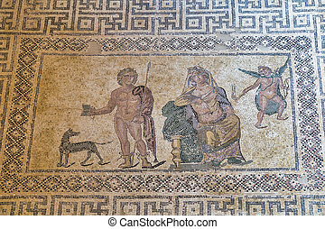antiguo, cyprus., piso, parque, paphos, griego, kato, ...