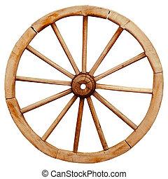 antiguo, de madera, grunge, rueda del carro, en, país,...