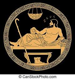 antiguo, dios griego, zeus.
