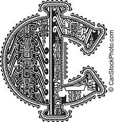 antiguo, drawing., símbolo, ilustración, vector, centavo