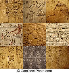 antiguo, egipcio, conjunto, escritura