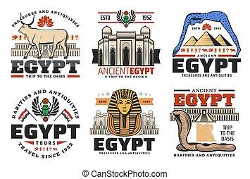 antiguo, egipcio, egipto, viaje, señales