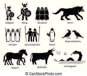 antiguo, escandinavo, mitología, gente, monstruos, y, criaturas, caracteres, icono, conjunto