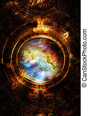 antiguo, espacio, color, resumen, maya, cósmico, space., estrellas, plano de fondo, computadora, nota música, collage., calendario, circular, vista