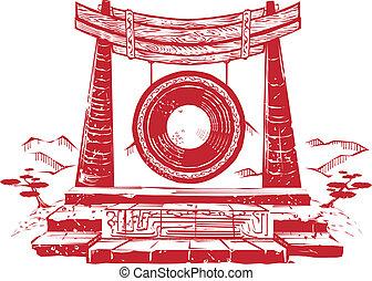 antiguo, gong, viento