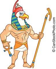antiguo, horus, egipto, dios, cielo, mitología