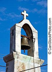 antiguo, iglesia vieja, belltower, aldea, croatia.