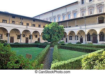 antiguo, italia, san, -, lorenzo, claustro, toscana, florencia