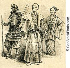 antiguo, japonés, guerrero, un, oficial, y, un, dama