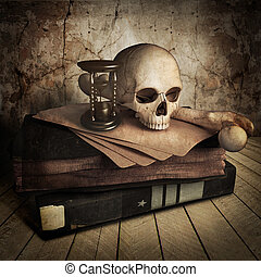 antiguo, libros, cráneo