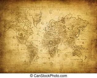 antiguo, mapa, de, el mundo