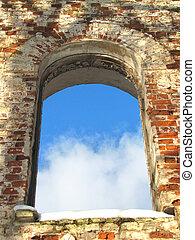 antiguo, marco, colores, ventana, arco, plano de fondo,...