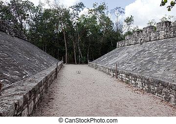 antiguo, maya, pelota, tribunal