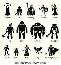 antiguo, medieval, fantasía, mal, caracteres, criaturas, y, monstruos, icono, set.