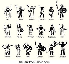 antiguo, mitología griega, dioses diosas, caracteres, icono, conjunto