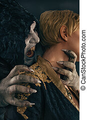 antiguo, monstruo, vampiro, demonio, mordeduras, un, mujer, neck., halloween, fantasía