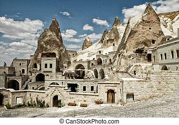 antiguo, museo, aire, cuevas, goreme, turkey., abierto, ...
