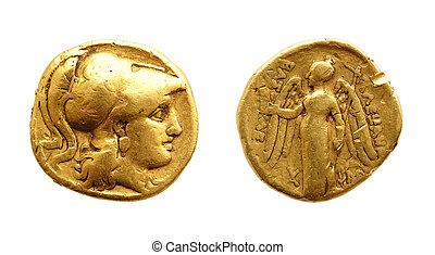 antiguo, oro, moneda