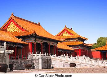 antiguo, pabellones, en, ciudad prohibida, beijing, china