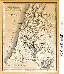 antiguo, palestina, mapa, impreso, 1845