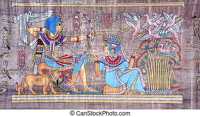 antiguo, papiro, egipcio