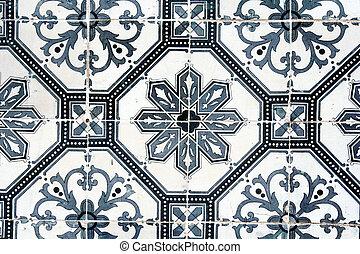 antiguo, pared, mosaico