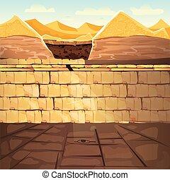 antiguo, perdido, egipto, faraón, metro, tumba