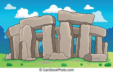 antiguo, piedra, 2, tema, monumento