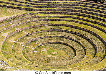 antiguo, probable, moray, terraces., incas, allí, inca,...