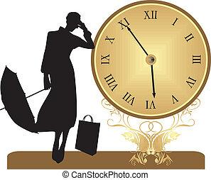 antiguo, reloj, y, hembra, silueta