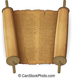 antiguo, rollosde papel, con, texto