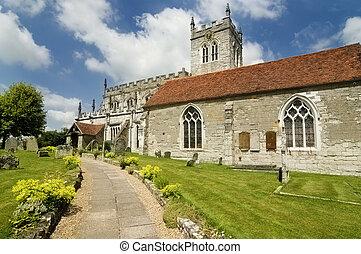antiguo, saxon, iglesia, inglaterra