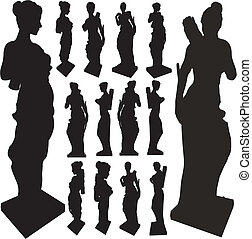 antiguo, siluetas, mujer, estatua