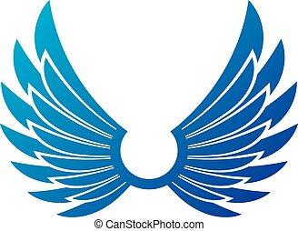 antiguo, simbólico, alas, emblem., heráldico, vector, diseño, element., estilo retro, etiqueta, heráldica, logo.
