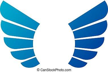 antiguo, simbólico, azul, alas, emblem., heráldico, vector, diseño, element., estilo retro, etiqueta, heráldica, logo.