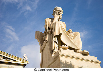 antiguo, socrates., filósofo, griego, estatua, mármol
