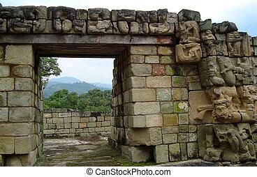antiguo, tallado, de, maya, cultura, en, honduras