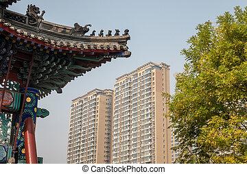 antiguo, tianjin, confuciano, li, dongmen, templo