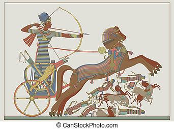 antiguo, vector, alivio, egipcio