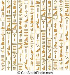 antiguo, vertical, egipcio, patrón, seamless, vector, jeroglíficos