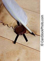 antiguo, viejo, papel, cera, sobre, pluma, sello, Pergamino, púa
