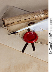 antiguo, viejo, papel, cera, sobre, pluma, sello, rúbrica, Pergamino, púa