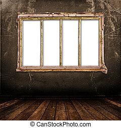 antiguo viejo, pared, metal, clavo, ventana