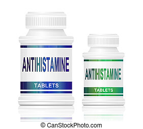 Illustration depicting two medication containers with the words 'antihistamine tablets' on the front with white background.