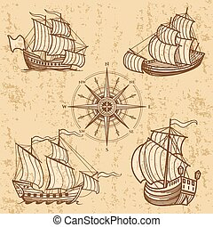 antik, állhatatos, szüret, utazás, hajó, collection., csónakázik