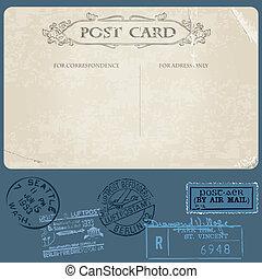 antik, állhatatos, topog, vektor, levelezőlapok, postai