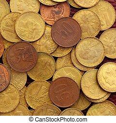 antik, ægte, gamle, spanien, republik, 1937, valuta, mønt, peseta