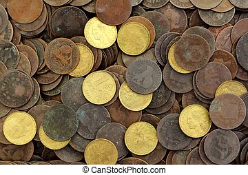 antik, ægte, gamle, spanien, republik, 1937, valuta, mønt,...